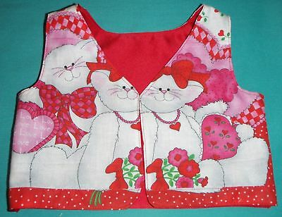 Red Pink & White Valentine Kitty Vest for Child Size 1 or My Size Barbie MYVHV02