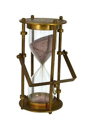 """6.25"""" Brass Hanging Sand Timer Hourglass with Pink 5 Munute  Sand inside"""