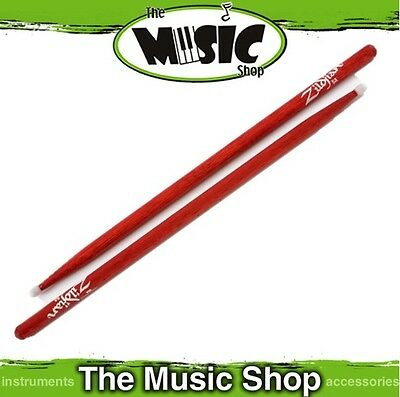 Set of Zildjian 5A Hickory Drumsticks Red with Nylon Tips - 5ANR Drum Sticks