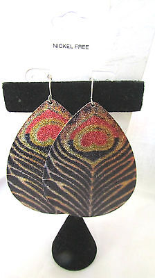 """Tear Drop Large Feather Style  French Wire Earrings 2 1/2""""  Nickel Free"""