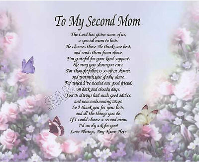 To My Second Mom Personalized Art Poem Memory Birthday Mother's Day Gift