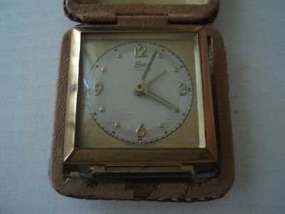 Vintage Travel Clock 7 Jewels Emes Made In Germany Alarm