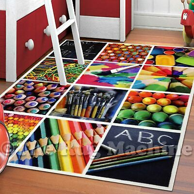 WHIZZ KIDS VIVID ART STATIONARY FUN FLOOR RUG 120x160cm **CRYSTAL CLEAR IMAGERY*