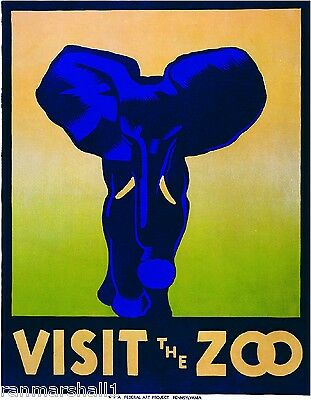 Visit the Zoo Elephant Wild Animals United States Advertisement Art Poster