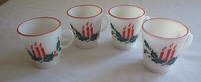 """Set of 4 Hazel Atlas Christmas Holiday Mugs Cups Candles Holly Berry 3"""" Tall"""