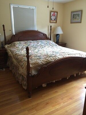 6 Piece Cherry Wood King Size Bed Full Bedroom Set