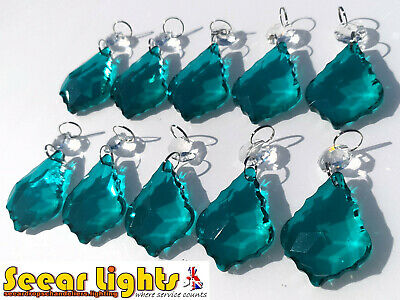 10 Chandelier Leaf Prisms Vintage Peacock Green Crystals Drops Beads Pendalogues