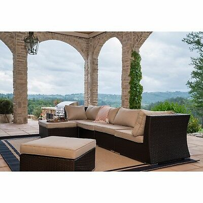 6 PC Modern Outdoor All Weather Wicker Rattan Patio Set Sectional Sofa Furniture