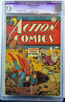 ACTION COMICS #92 CGC 7.5 Superman 1946