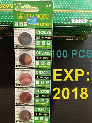 100 pcs CR2025(expire in 2018) 3 Volt Lithium Button Cell Battery USA US Ship