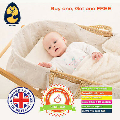 Two Pack x 28cm Moses Basket Wedgehog Reflux Wedge/Pillow with Free Support