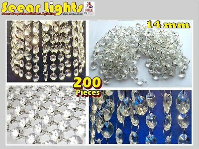 4m GARLAND CHANDELIER CRYSTALS DROPLETS GLASS ANTIQUE DECO LOOK BEADS DROPS 14mm