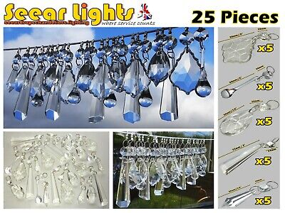 Chandelier Prisms Antique Look Crystals Glass Drops Deco Lamp Parts Lustre Beads