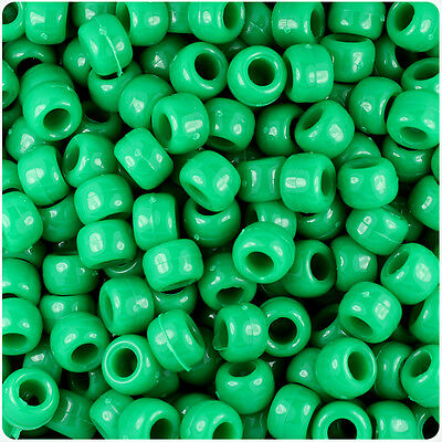 500 Sage Green Opaque 9x6mm Barrel Plastic Pony Beads Made in the USA