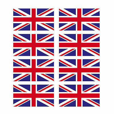 8 x Glossy Vinyl Stickers - Union Jack Small Flag 1cm 10mm Bike Helmet  #0064B