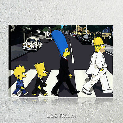 The simpson Beatles QUADRO 70x50 ARREDAMENTO CASA STAMPA TELA QUADRI Abbey Road