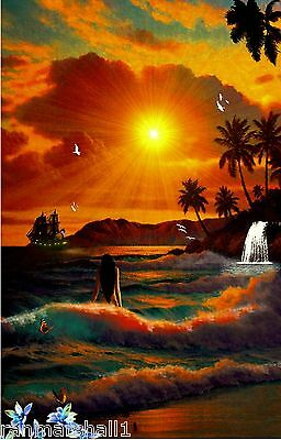 Hawaii Hawaiian Islands at Sundown United States Travel Advertisement Poster