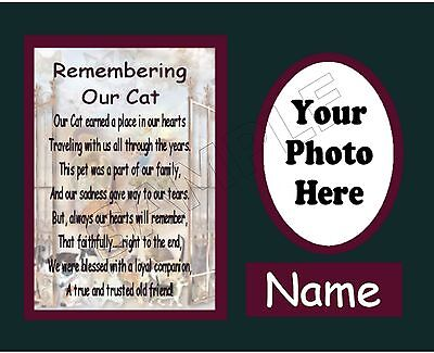 Remembering Our Cat Pet Photo Personalized Art Poem Memory Love Gift Print0