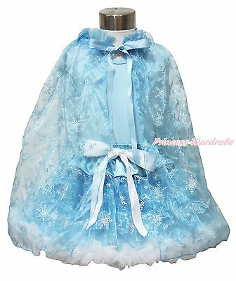 Blue Top Silver Snowflake Organza Skirt Cape Girl Princess Elsa Costume Set 1-8Y