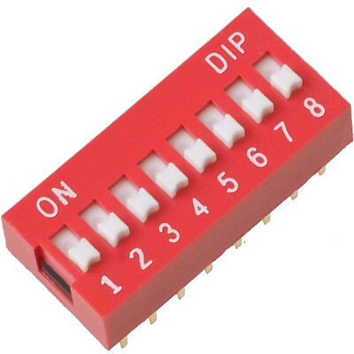 5pcs 2.54mm Red 8 Positions Ways Slide Type DIP Switch Free Shipping