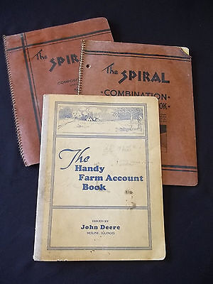 Vintage late 30's John Deere Account Notebook Diary Kansas Farmers Book + 2
