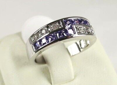 R#4567 simulated Purple Amethyst & Topaz ladies silver ring size 7.25
