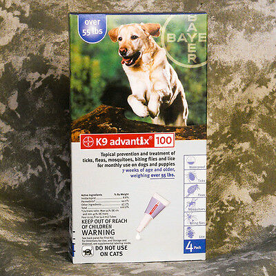 Bayer K9 Advantix For Dogs Over 55 lbs 4 Pack Blue XL Dog Flea and Tick Treatmen
