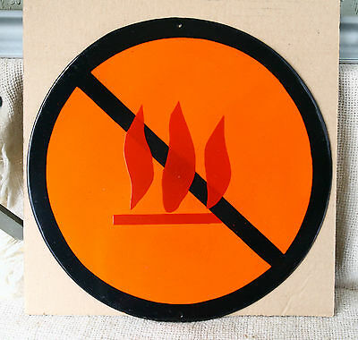 VINTAGE 1960`s ENAMEL PORCELAIN TIN SIGN PLATE - FORBIDDEN FIRE - 32 cm - # 1