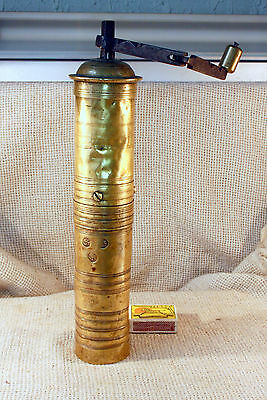ANTIQUE 18`c ISLAMIC OTTOMAN EMPIRE BRASS COFFEE MILL GRINDER SULTAN THUGRA