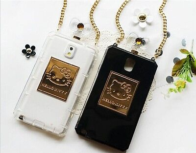 Perfume bottles Hello Kitty TPU Chain Cover case for Samsung Galaxy NOTE2 S4 S5