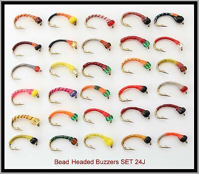 30 Trout Fly Fishing Flies - BH-BEADED MIXED BUZZERS 24J