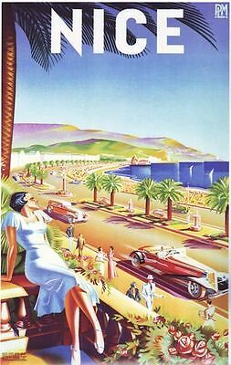 1930's Nice France Tourism Travel Poster  A2 Reprint