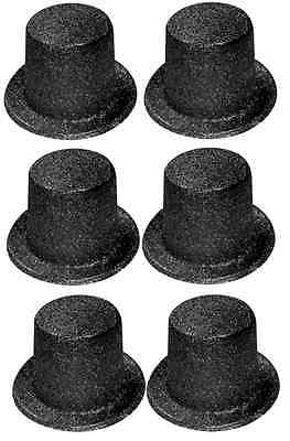 Pack of 6 Black Glitter Top Hats - H23 015 - Fancy Dress Accessories - Party Hat