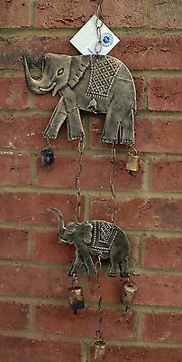 Wind Chime Elephant Bell Hanging Bronzed Metal Fair Trade Home Indoor Garden New
