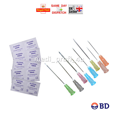Clearance !!! 10 15 20 25 30 40 50 Bd Needles +Swabs 70% Alcotip 23G Blue Green