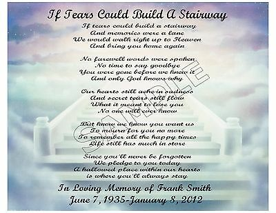 If Tears Could Build A Stairway Personalized Poem Memory Gift
