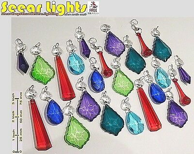 Chandelier Glass Crystals Color Droplets Beads Retro Vintage Prisms Light Parts