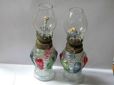 VINTAGE PAIR OIL LAMP LANTERN STAINED GLASS GLOBE
