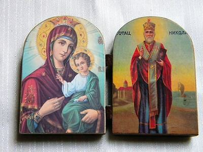 ANTIQUE WOOD PLAQUE DIPTYCH RUSSIAN ICON VIRGIN MARY ST NIKOLAY