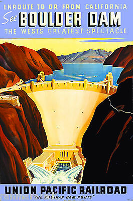 See Boulder Hoover Dam Nevada Vintage United States Travel Advertisement Poster