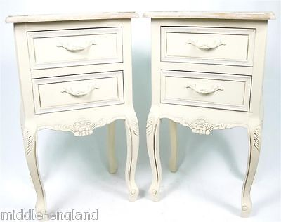 """Pair/shabby Chic Bedside/lamp Tables 27"""" Chest Of 2 Drawers Victorian Range"""