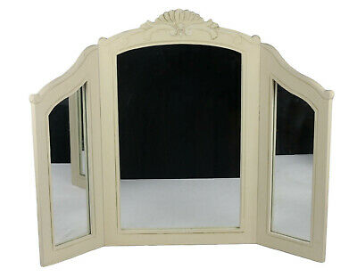 French Country Triple Dressing Table Mirror Shabby Chic Vintage Antique Cream