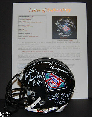 Johnny Unitas Otto Graham Autographed 75th Anniversary Mini Helmet JSA + 3 sigs