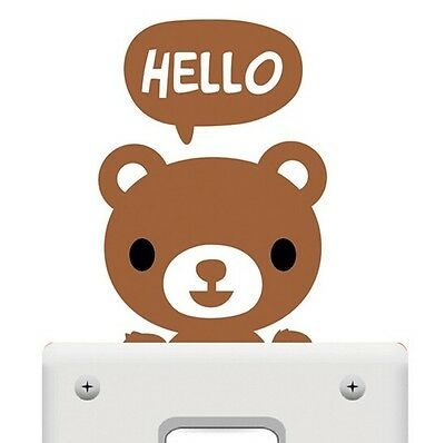 3pcs Cute Brown Bear Pet Light Switch Funny Wall Decal Vinyl Stickers DIY ~3pc~