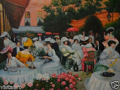 "Wall Art Modern Hand Painted Oil on Canvas 36""x 48"" - Lunch in the Garden"