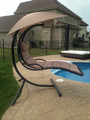Swing Chair / Patio Sun Lounger / Steel / Taupe, Red, Grey or Lime Green