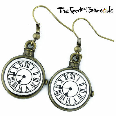 TFB - CLOCK FACE BRONZE DANGLE EARRINGS Drop Quirky Vintage Alice Antique Time
