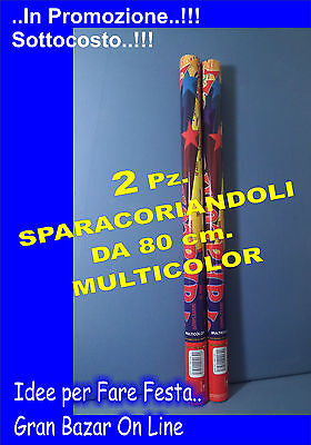 SPARACORIANDOLI MULTICOLOR 2 Pz da 80 cm. FESTA PARTY COMPLEANNO
