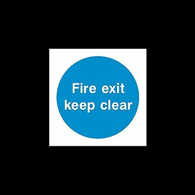 Fire Exit Keep Clear - Sign, Sticker - 85mm x 85mm