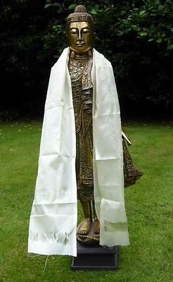 Tibetan Buddhist CREAM KHATA Ceremonial Blessing scarf + Temple Cloth. Pha Yant.